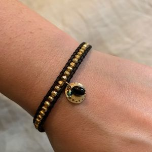 NEW Chan Luu Single Wrap Bracelet Gold Black
